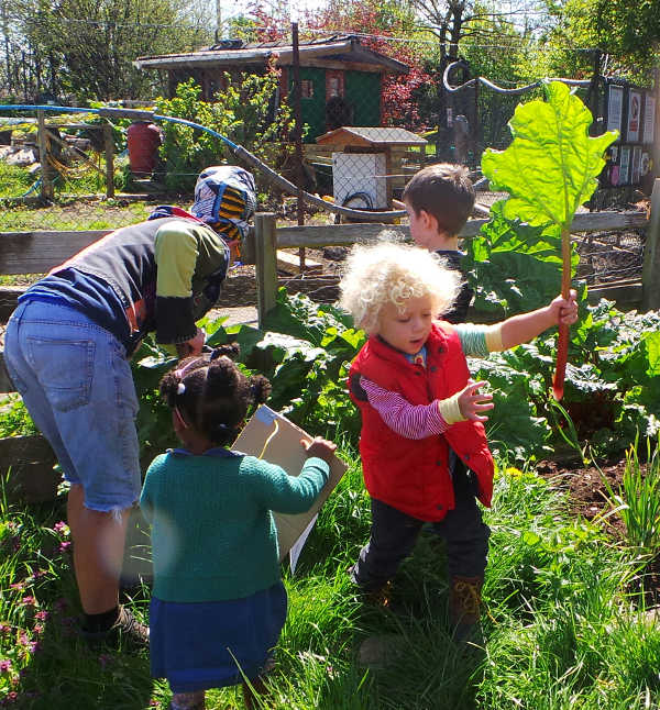 children at garden explorers