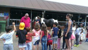 school children with farm horse Murphy