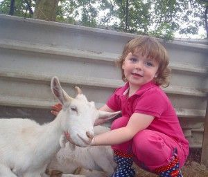 child with goat-kid