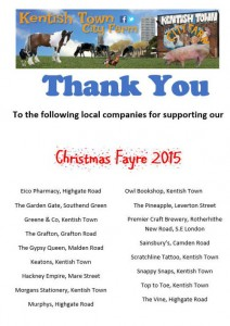 Christmas Fair 2015 business thank you list