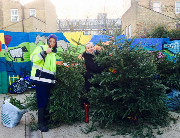 Young Farmers helped unload the trees