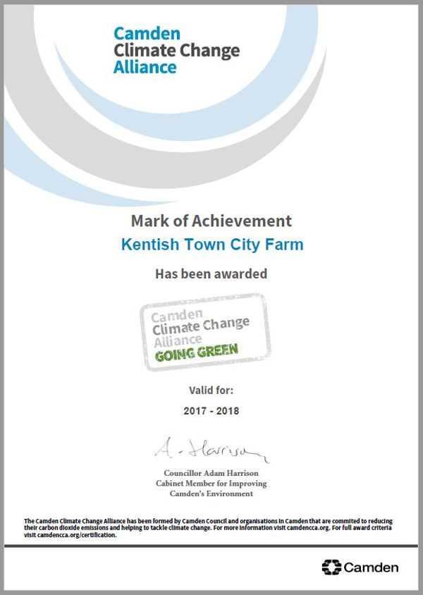 CCCA Award Certificate