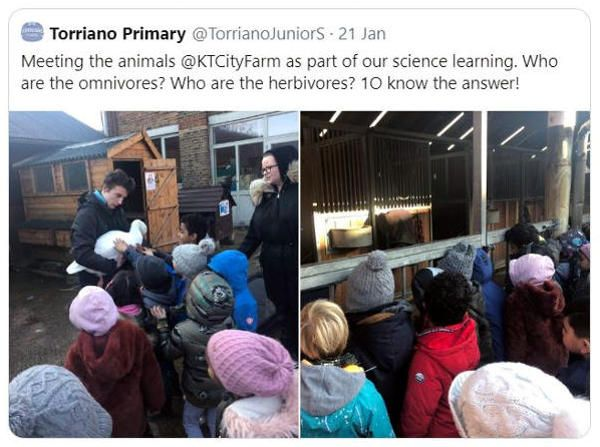 Tweet from local school visiting the Farm