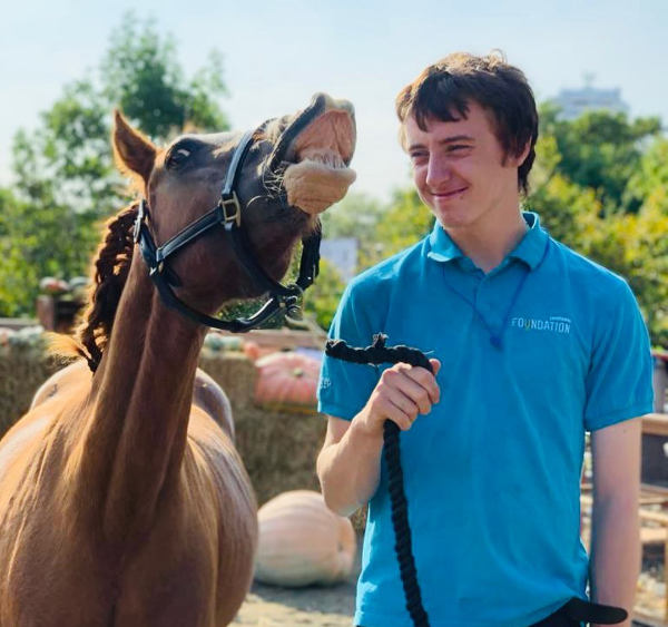 Young Farmer with Jester the horse