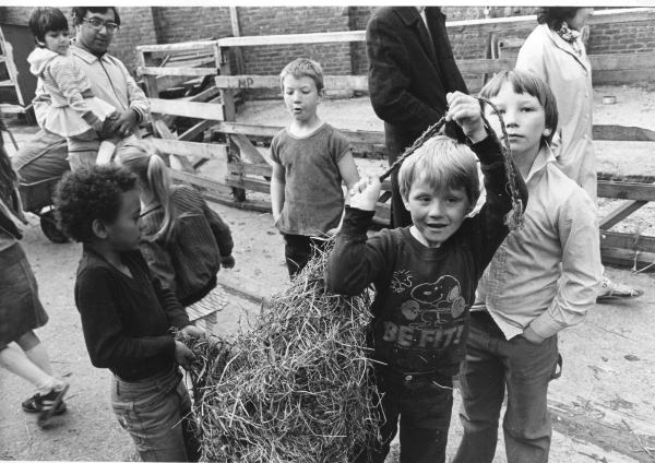 Carrying the hay bales