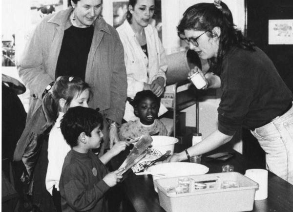 School children in butter making lesson
