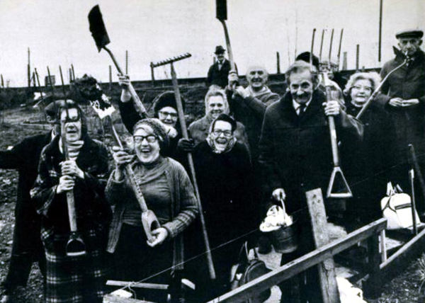 The Farm's Pensioners Garden Club members with shovels