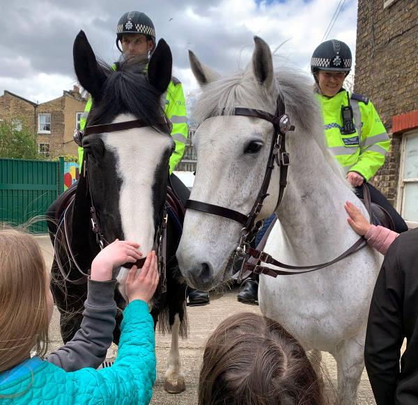 Playscheme children meet local police horses