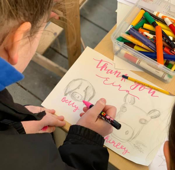 A child drawing farm animals